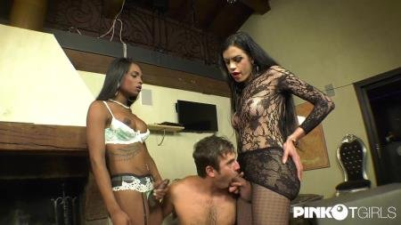 Two Slutty Trannies Share A Young Ass (Brenda Star, Kiara)  [SD] PinkOTgirls.com